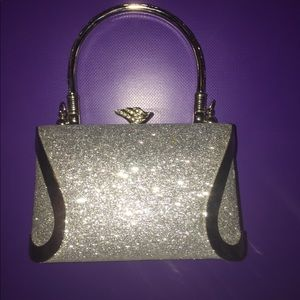 Silver hard case evening bag with clasp